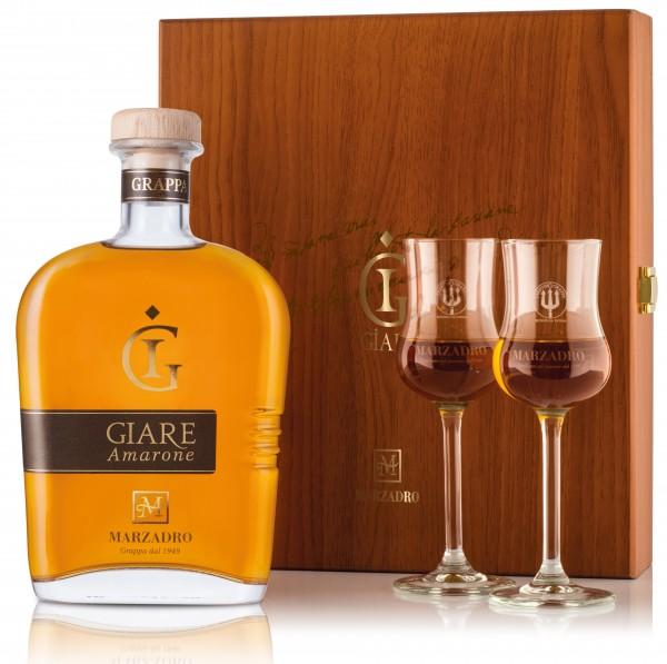 Marzadro Grappa Giare Amarone Geschenk Set, 0,7 l